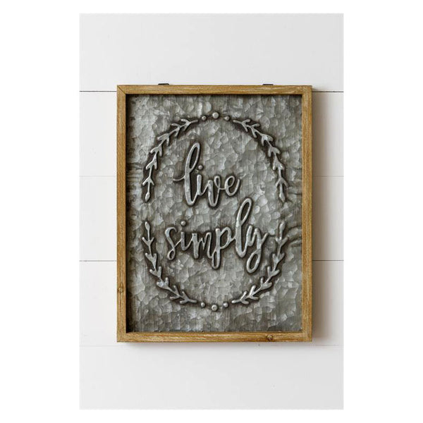 Live Simply Embossed Sign 8W2904