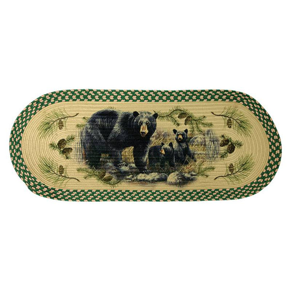 Long Oval Braided Black Bears Rug 2534