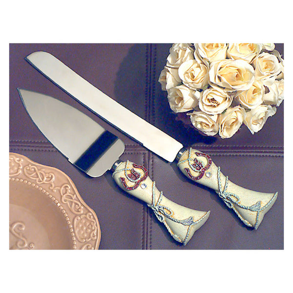 Lucky In Love Western Themed Cake Knife and Server 1907