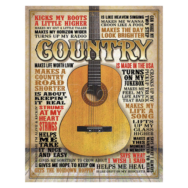 Made In America Country Music Tin Sign T2030