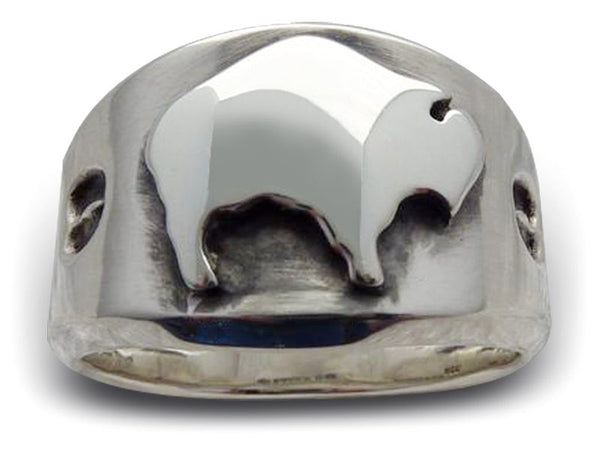 Mens American Spirit Sterling Silver Buffalo Ring J1251