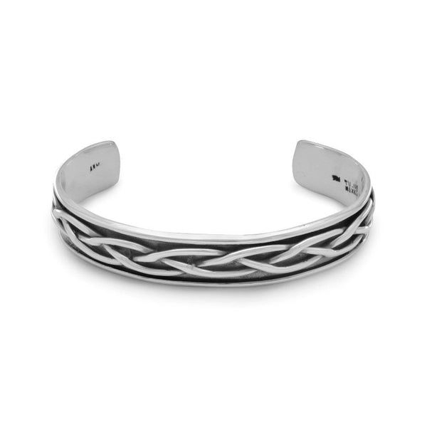 Mens Oxidized Braided Cuff Bracelet 22808
