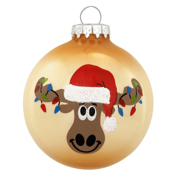 Merry Christmoose Lights Glass Ornament 1167329