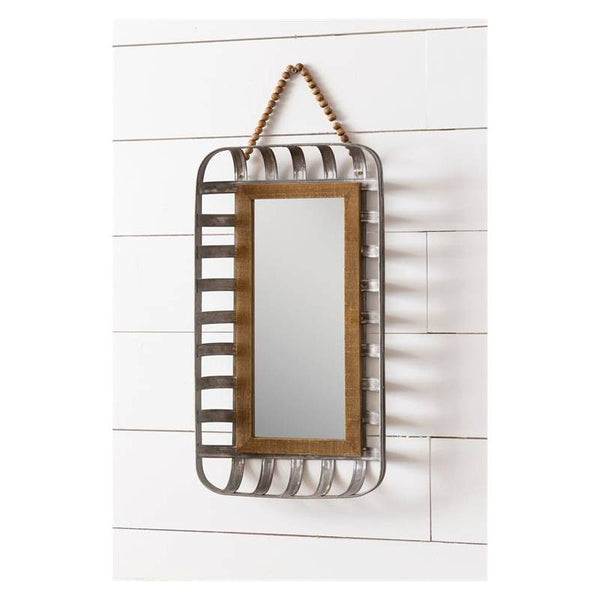 Metal Tobacco Basket Wall Mirror 8WH774