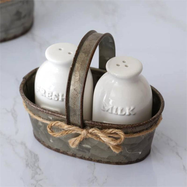 Milk Bottle Salt and Pepper Shakers with Galvanized Holder 8PT1225