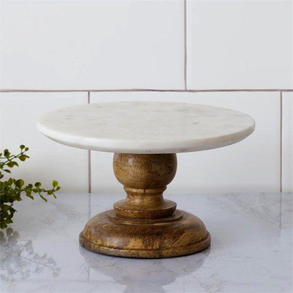 Mini Marble and Wood Cake Stand 8W3197
