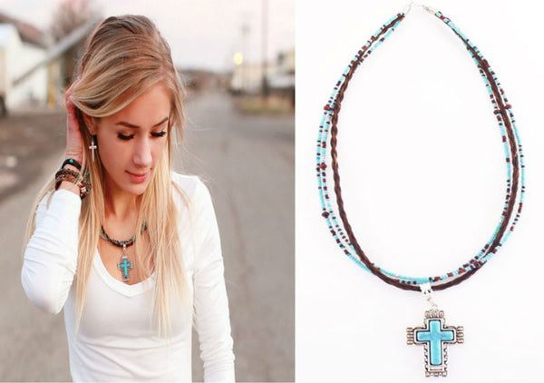 Horsehair Turquoise Cross Necklace