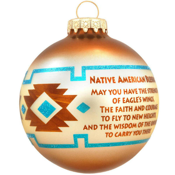 Native American Christmas Ornaments.Native American Blessing Glass Ornament