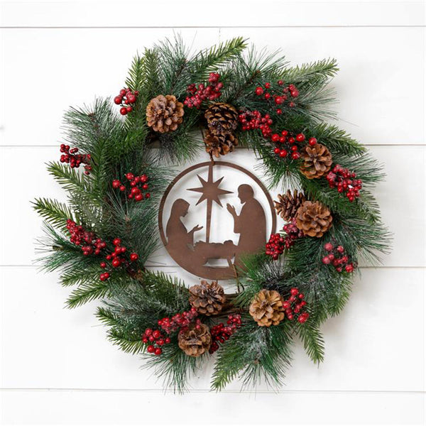 Nativity Scene Pinecones and Berries Wreath 7F6571
