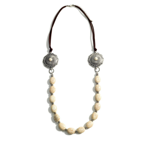 Natural Stone & Concho Beaded Necklace Howlite 147190