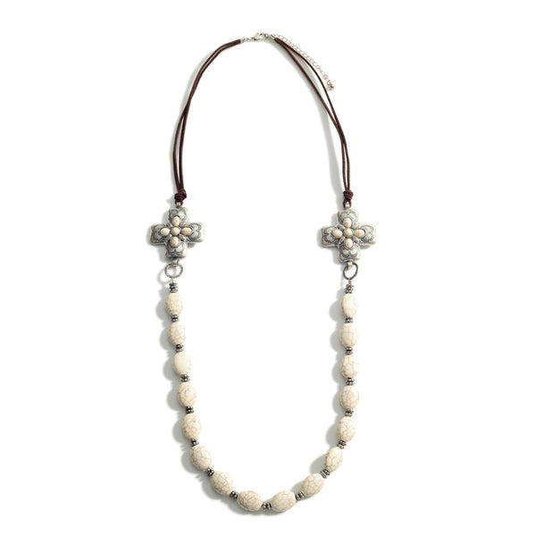 Natural Stone Leather & Silver Beaded Necklace Howlite 147193