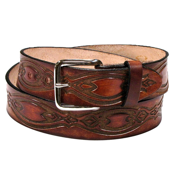 Ornate Ovals Brown Leather Belt XM-5501