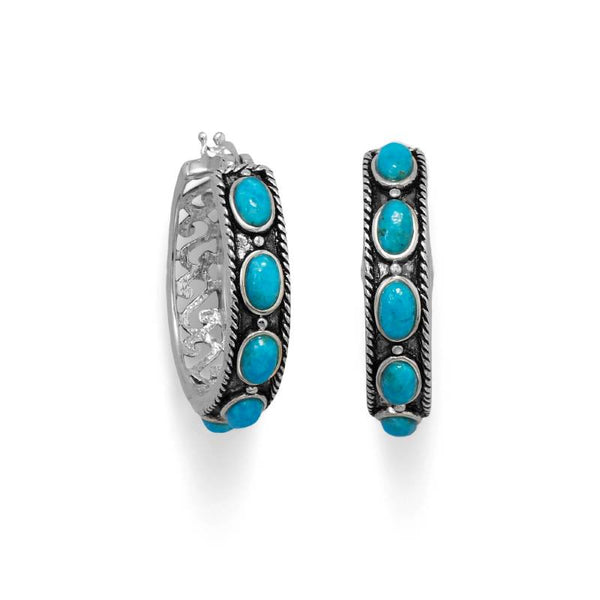 Ornate Oxidized Turquoise Hoop Earrings 66467