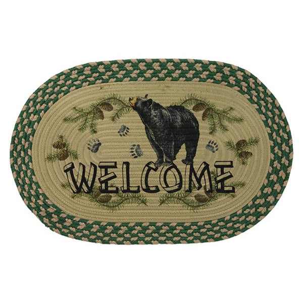 Oval Braided Black Bear Welcome Rug 2524