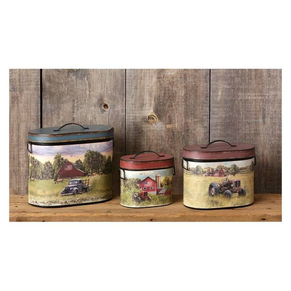 Oval Farm Scenes Kitchen Tins 8T1197