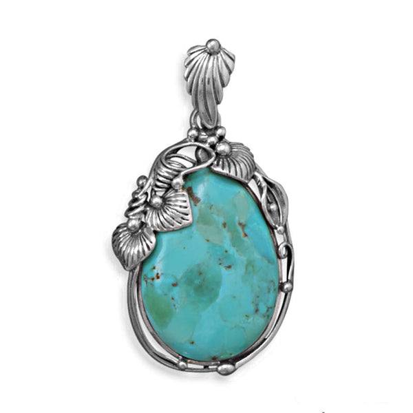 Oval Reconstituted Turquoise Pendant 74091