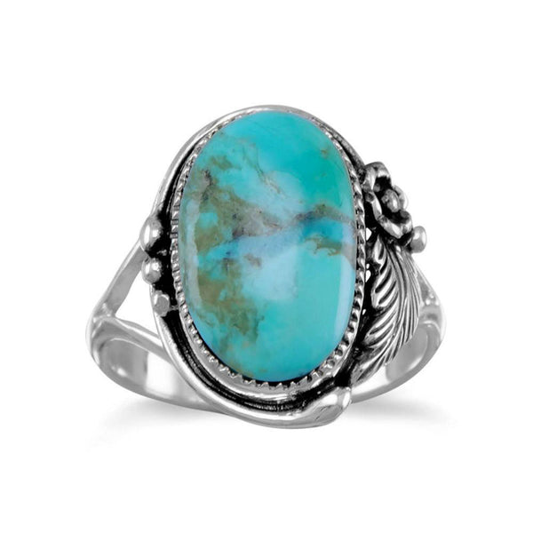 Oval Turquoise Floral Ring 83156