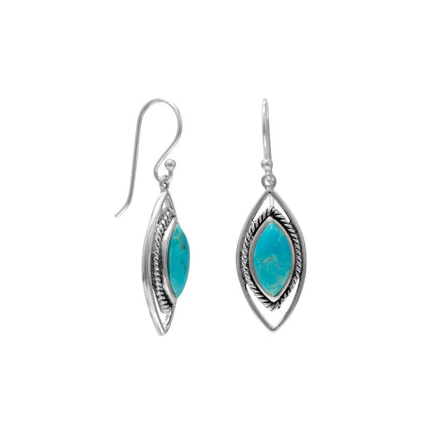 Oxidized Marquise Turquoise French Wire Earrings 65806