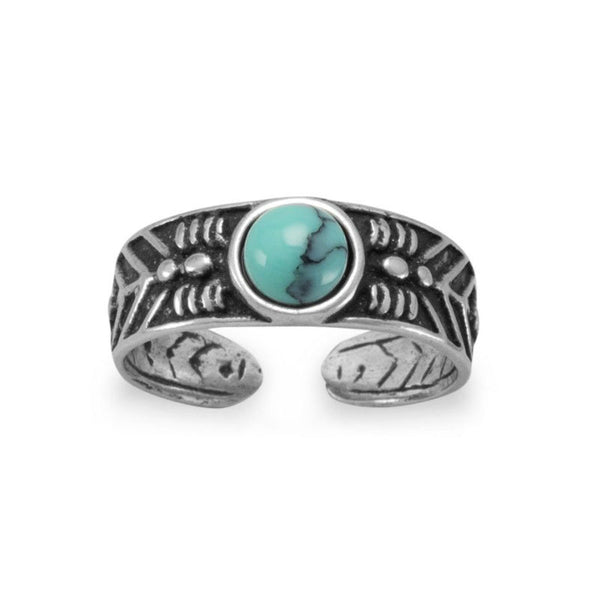 Oxidized Silver Simulated Turquoise Toe Ring 9956