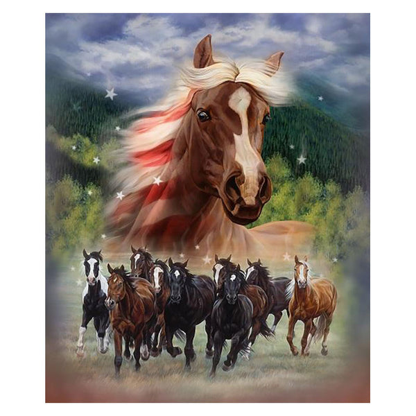 Patriotic Stampede Fleece Horses Plush Blanket TQ7338