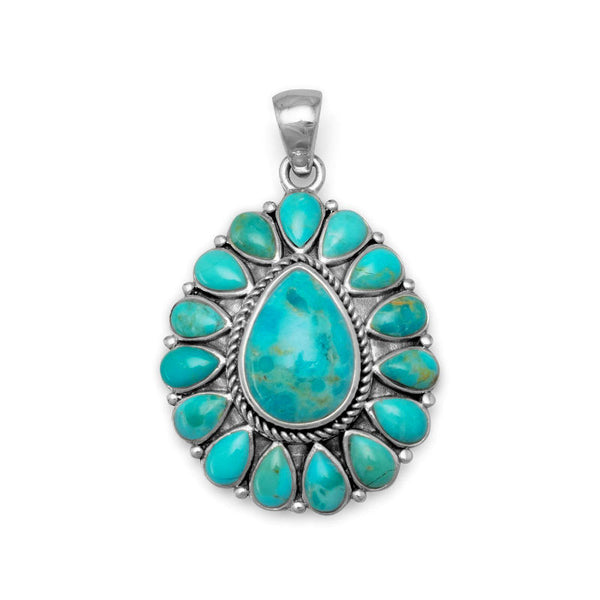 Pear Shaped Turquoise Necklace Pendant 74270