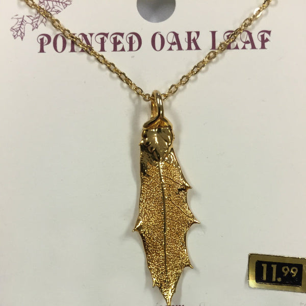 Pointed Oak Gold Leaf Necklace CJPOINT