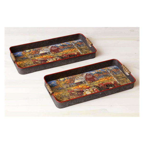 Pumpkin Patch Barn Scene Serving Trays 6T1511