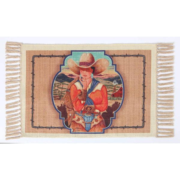 Ready To Ride Cowgirl Digital Print Placemat W-DMAT105
