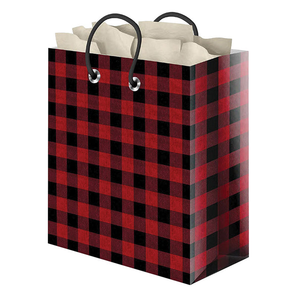 Red and Black Buffalo Checks Medium Gift Bag 4520