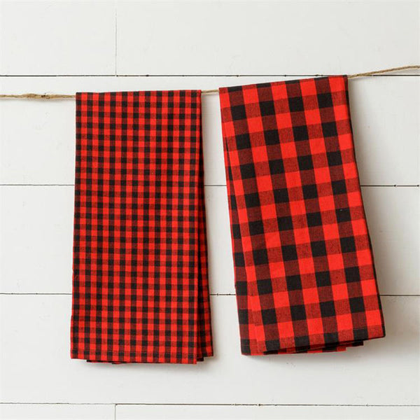 Red and Black Buffalo Plaid Kitchen Tea Towels 8FA1281