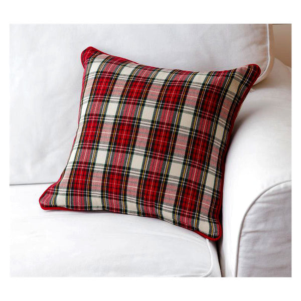 Red and Black Tartan Plaid Throw Pillow 7P5951