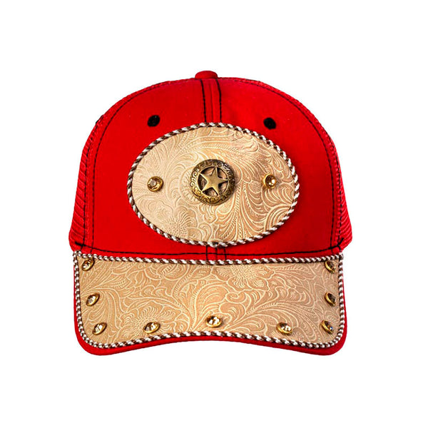 Red and Tan Embossed Leather Star Baseball Cap CAP-020