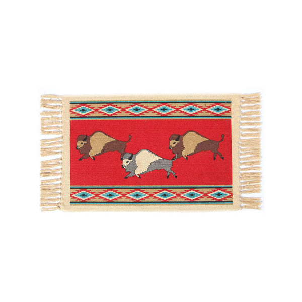 Red Buffalo Stencil Tapestry Placemat W-HIMAT300A
