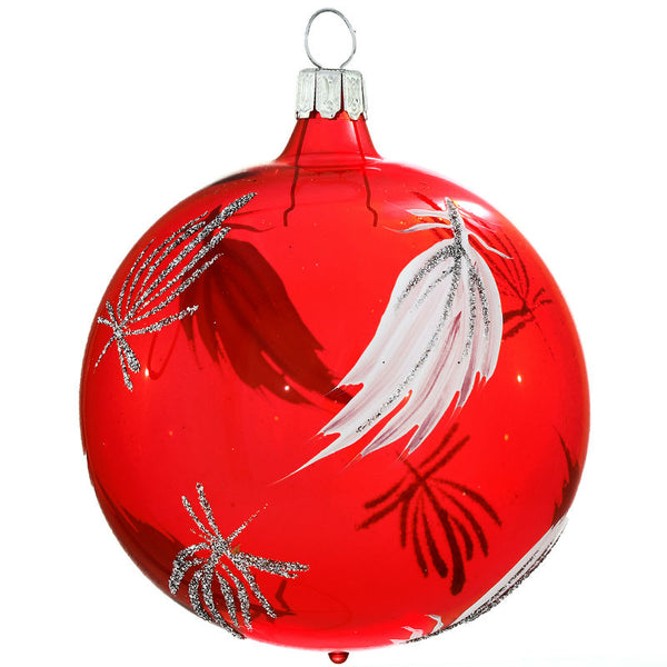 Red Silver Feathers Glass Ornament 1200260