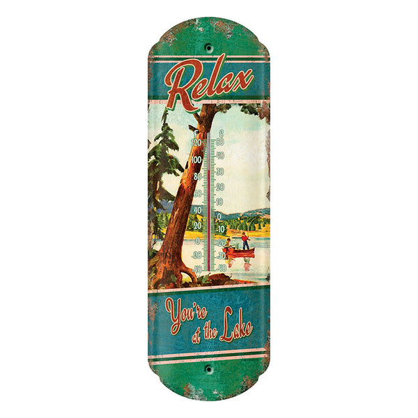 Relax You're At The Lake Tin Thermometer 1281