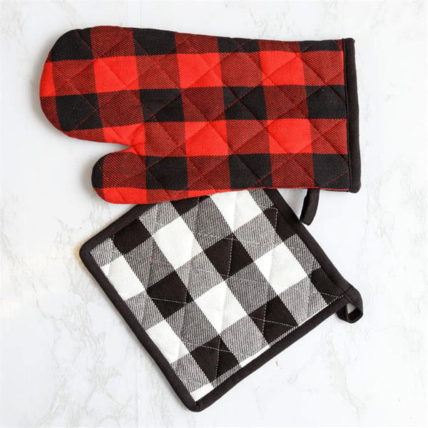 Reversible Buffalo Plaid Oven Mitt and Pot Holder 8FA1279