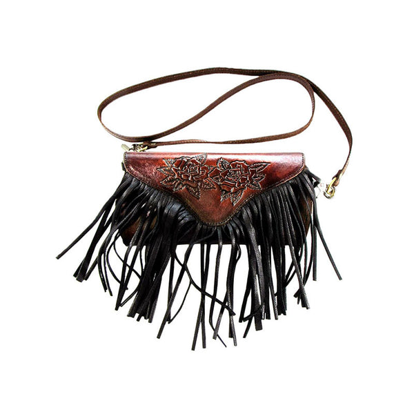 Roses Tooled Leather Cross Body Fringe Purse LW-91