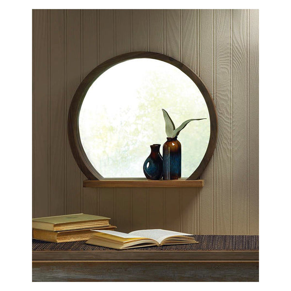 Round Wooden Mirror with Shelf 10018522