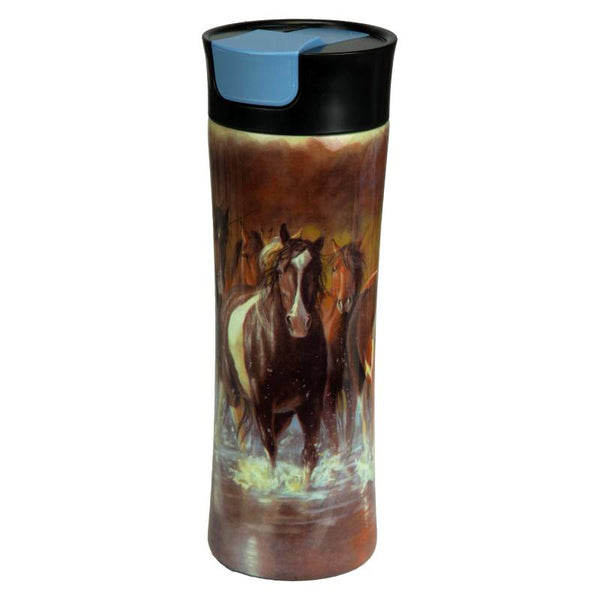 Rush Hour Horses One Touch Insulated Travel Mug 2126