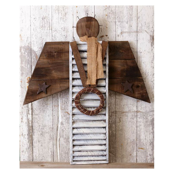 Rustic Wooden Shutter Angel 8W2203