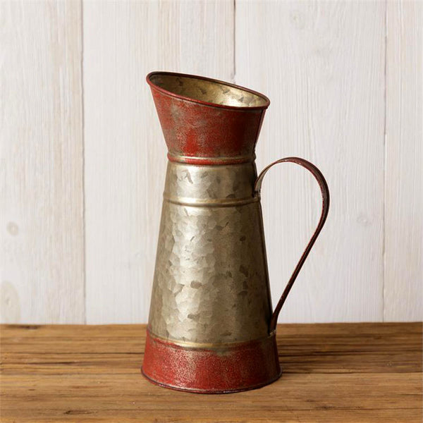 Rusty Red Galvanized Tin Pitcher 8T1486