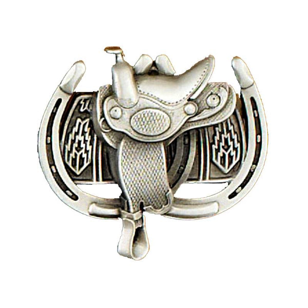 Saddle and Horseshoes Belt Buckle G-1964