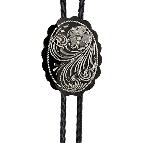 Scalloped Oval German Silver Engraved Bolo Tie BT-205
