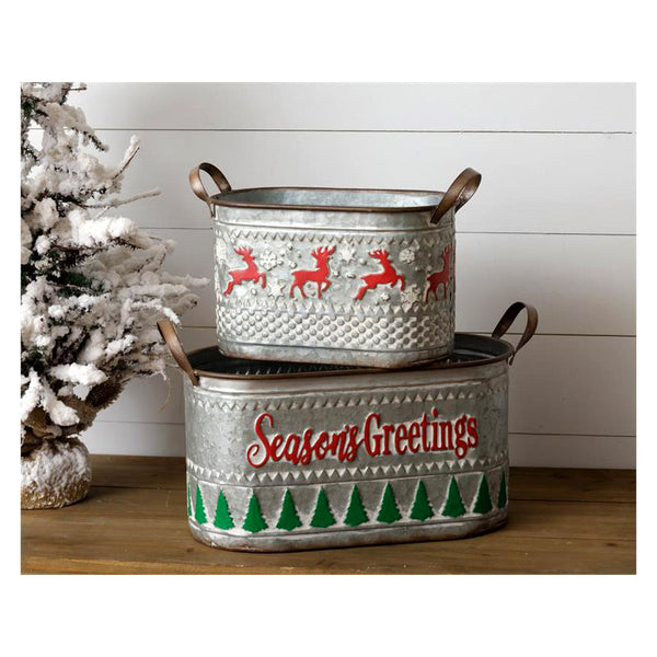 Seasons Greetings and  Reindeer Tin Buckets 7T1930