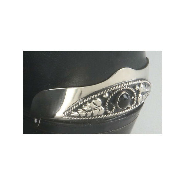 Silver and Black Onyx Boot Heel Guards WX-21