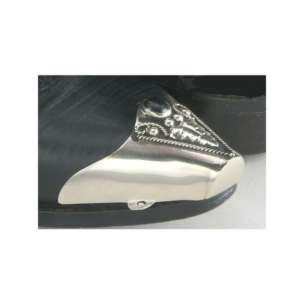 Silver and Black Onyx Boot Toe Tips WX-23