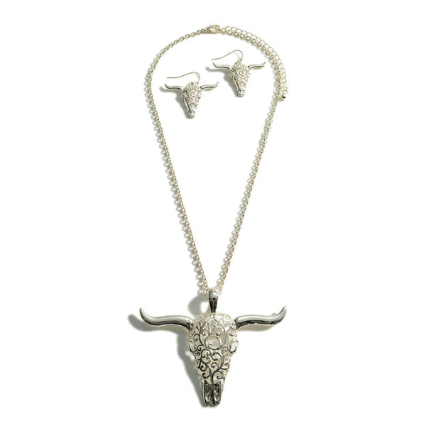Silver Steer Skull Pendant Necklace & Earrings 147233