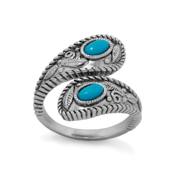 Silver Turquoise Wrap Ring 83704
