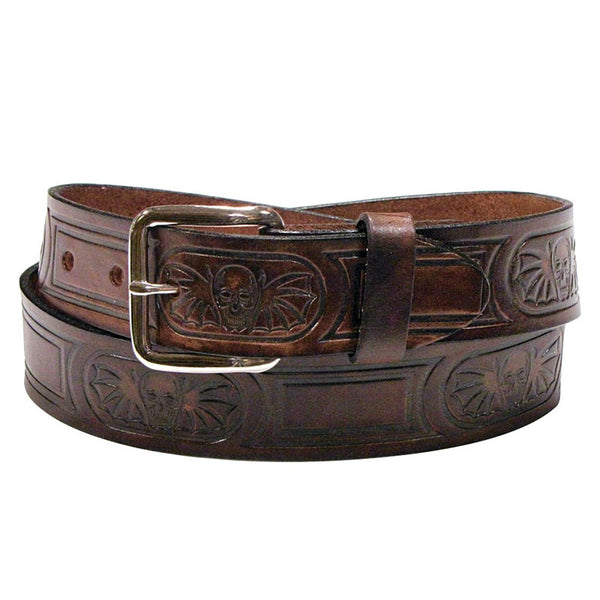 Skulls & Wings Brown Leather Bikers Belt XM-914