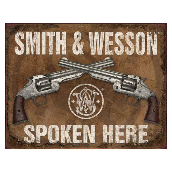 Smith and Wesson Spoken Here Tin Sign T1849